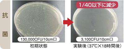 黄色ブドウ球菌に対する抵抗効果実験結果(フェースタオル)