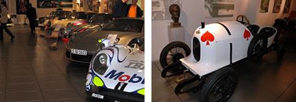 ポルシェ博士の銅像と昔の車