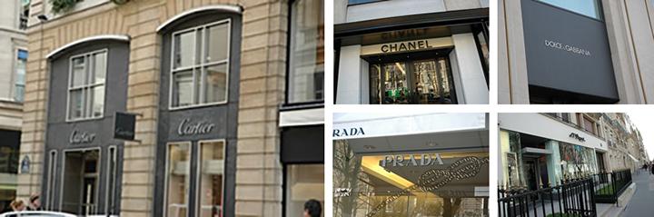 サントノーレ通りには、世界の高級ブランドが軒を連ねて並ぶ。
