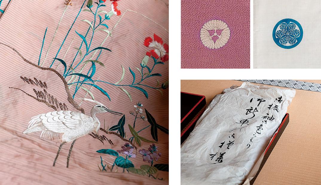 淡い桃色の絽の着物には艶やかな刺繍が施されている。肩上げがされた女児のもので、喜久子殿下が幼い頃にお召しになったものか。