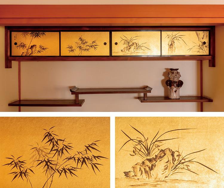 天袋には、四君子の蘭と竹が描かれている。