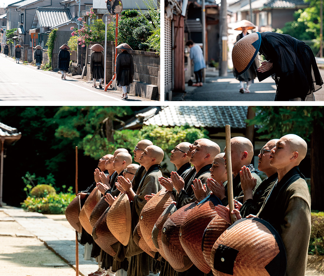 托鉢は地域の人々とつながり、縁を結ぶ役割もある。